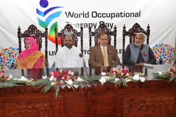 01.VC KMU Prof Dr Arshad javaid, Dr Ilyas Sayed, Dr haider Darian during World Occupational Therapy Day Celebration (Custom)1540880144.JPG