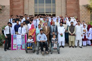 03.Group Photo of VC KMU Prof Dr Arshad javaid, Dr Ilyas Sayed, Dr haider Darian during World Occupational Therapy Day Celebration (Custom)1540880144.JPG