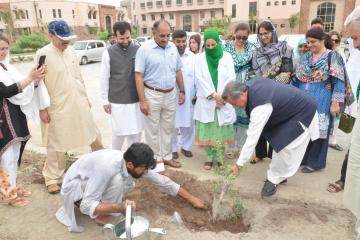 6.DGHS KP Dr Ayub Roze planting  tree during  opening ceremony of tree plantation compaign at KMU (Custom)1534403633.JPG