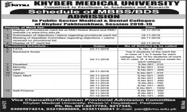 MBBS/BDS Merit Lists/Interviews Schedule for Admissions 2018-19 in Public Sector Medical and Dental Colleges
